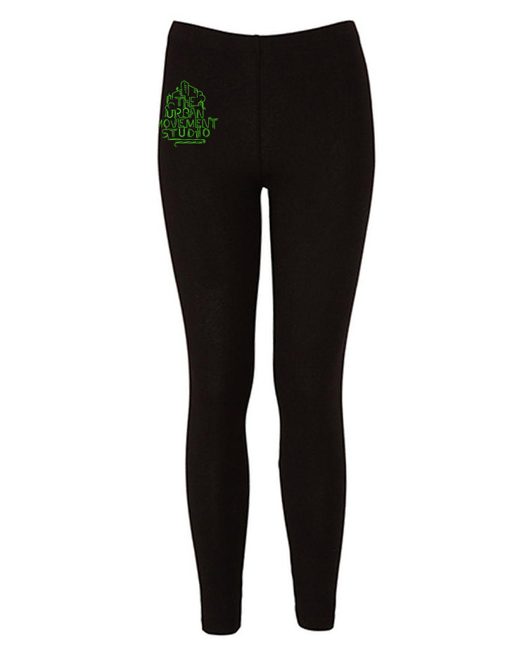 Urban Movement Studio Kinder Leggings neongrün auf schwarz