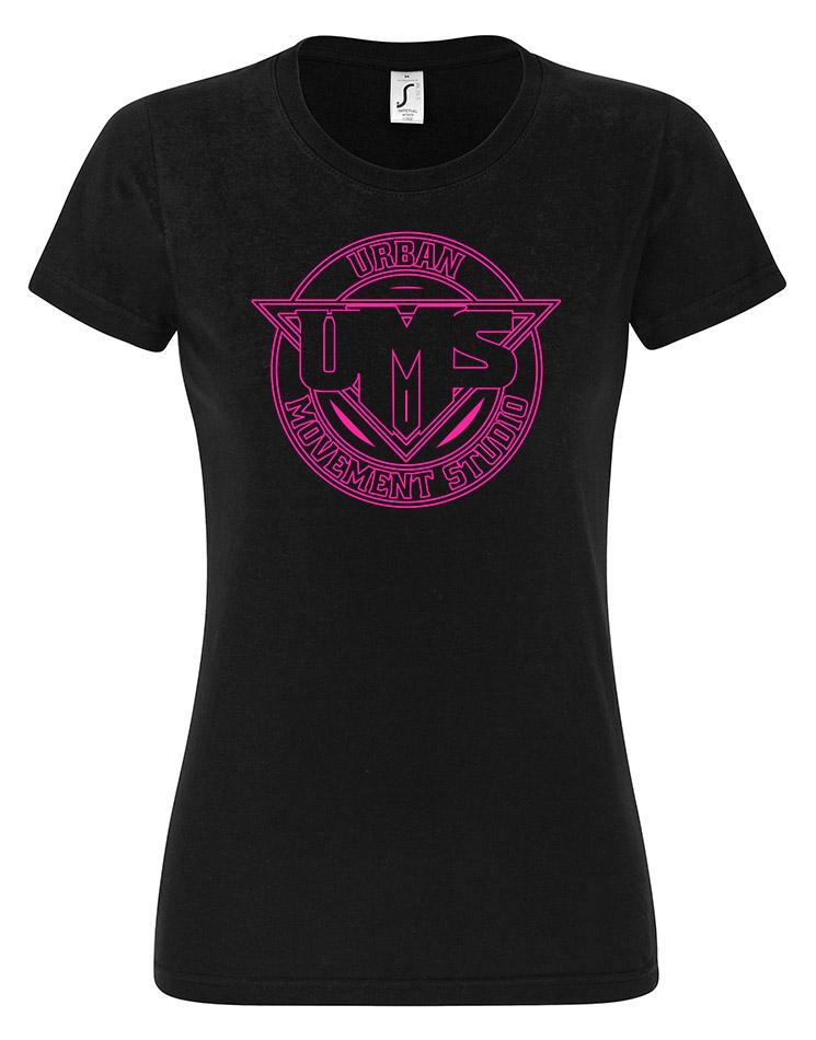 UMS Girly T-Shirt Neonpink auf schwarz