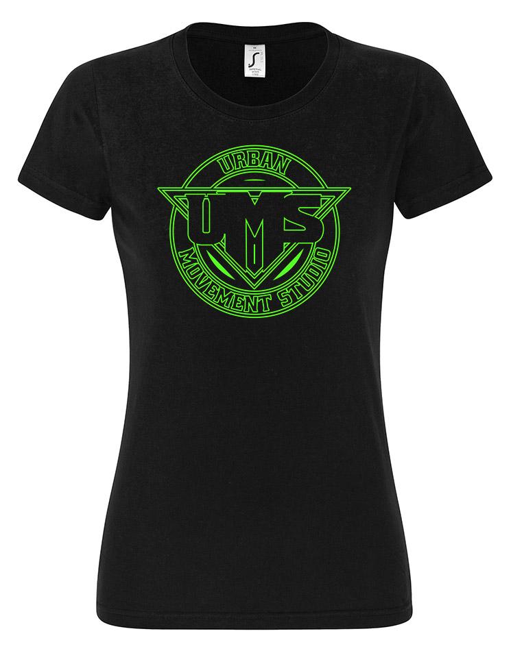UMS Girly T-Shirt Neongrün auf schwarz