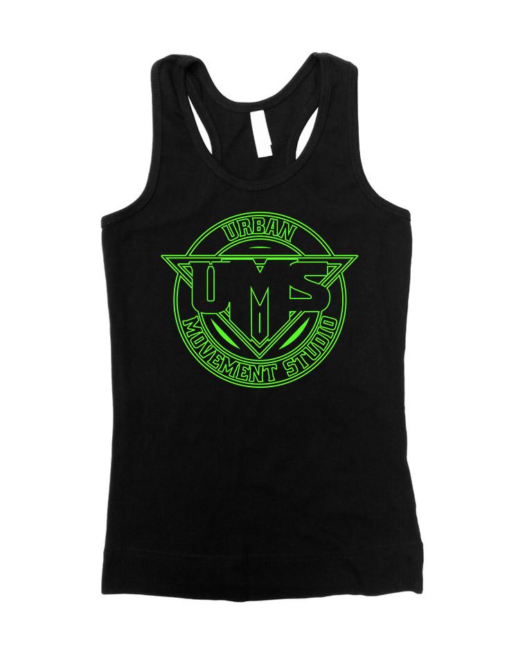 UMS Girly Tank Top Neongrün auf schwarz
