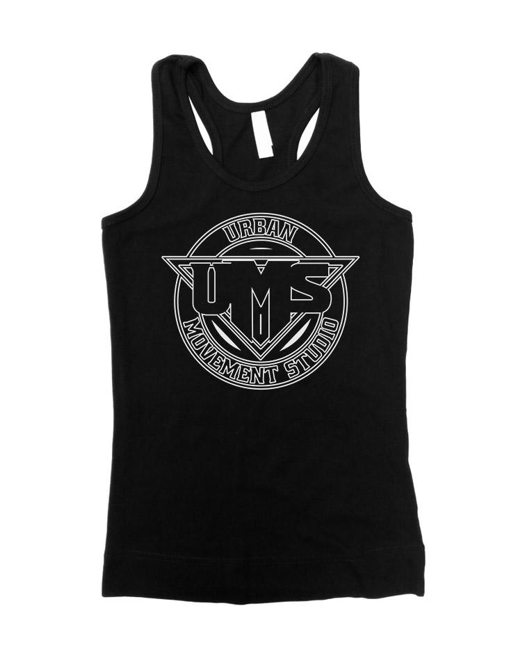 UMS Girly Tank Top weiß auf schwarz