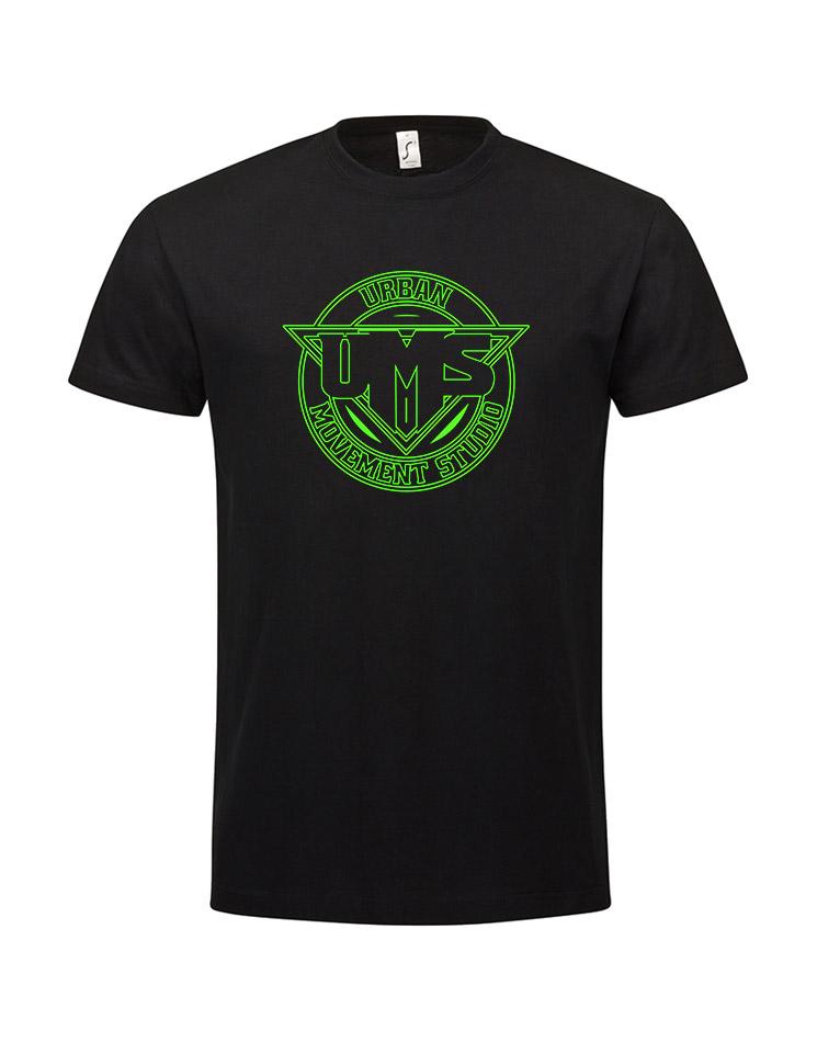 UMS Kinder T-Shirt neongrün auf schwarz