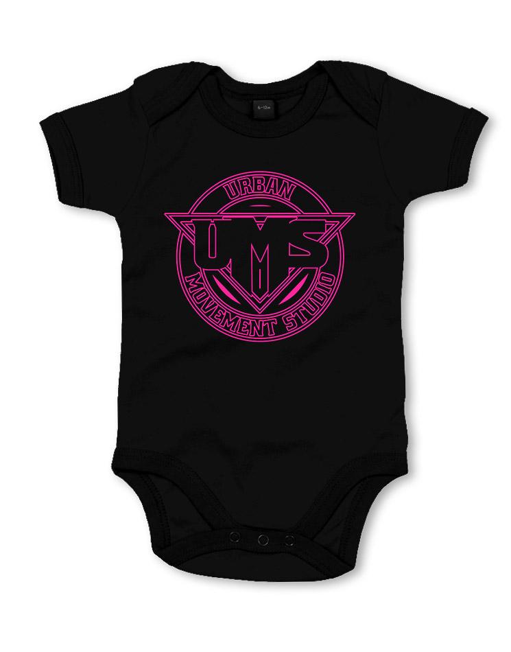 UMS Babystrampler neonpink auf schwarz