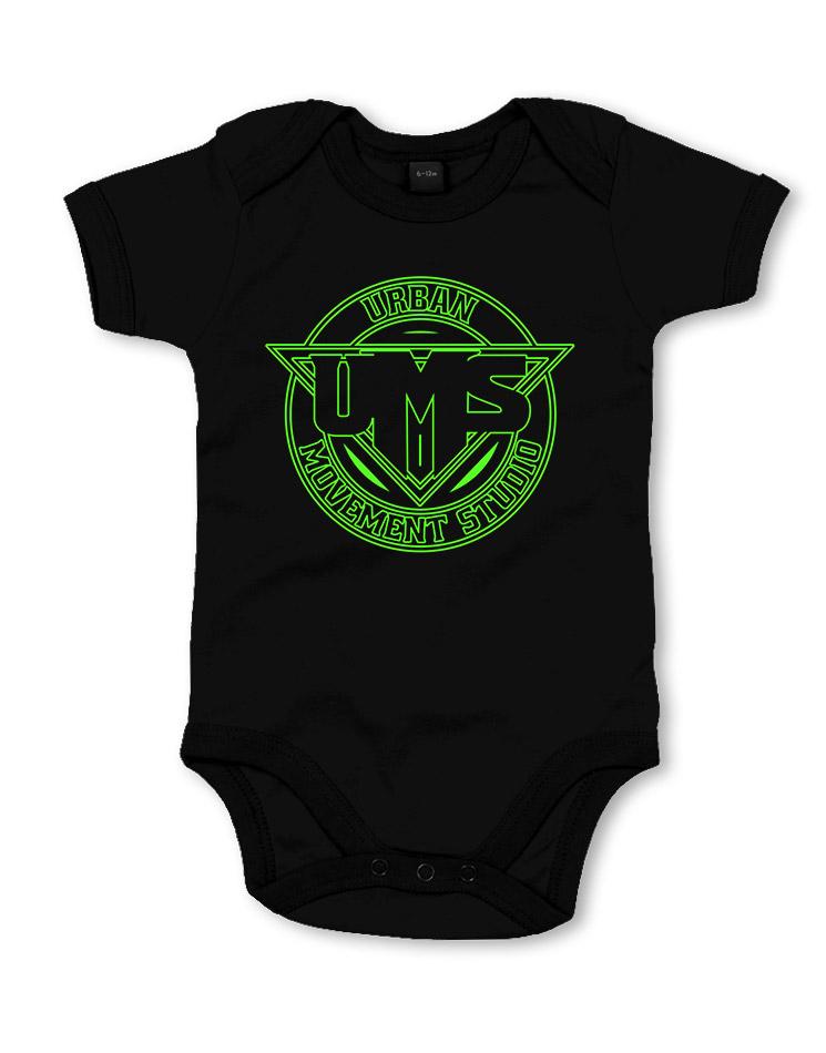 UMS Babystrampler neongrün auf schwarz