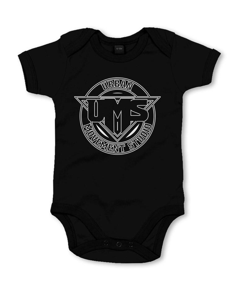 UMS Babystrampler weiß auf schwarz