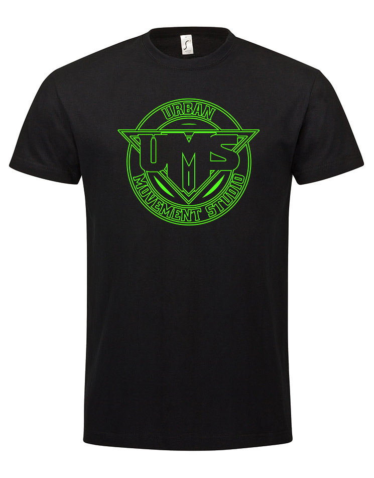 UMS T-Shirt neongrün auf schwarz