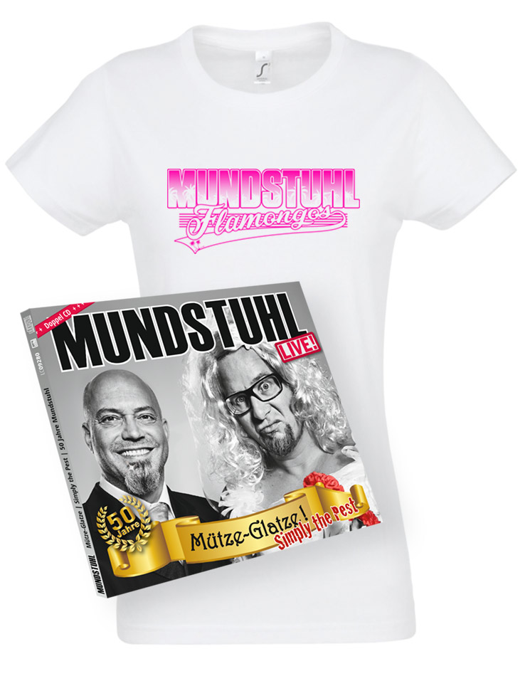 Flamongos Girly T-Shirt + LIVE CD Mütze-Glatze! Simply the Pest weiss