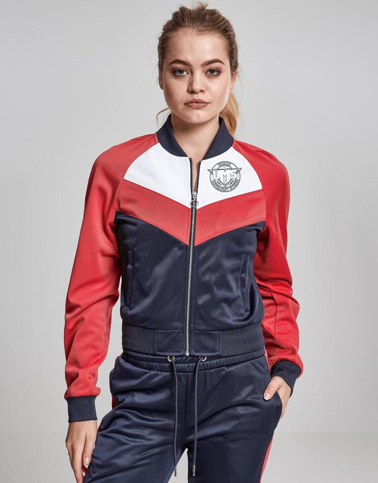 UMS Ladies Short Raglan Track Jacket schwarz auf mehrfarbig