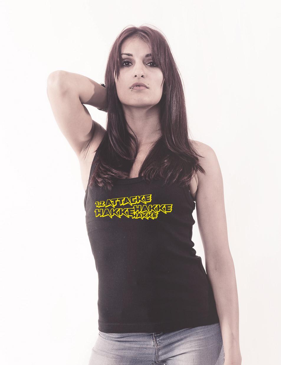 Hakke Hakke Hakke Girly Tank-Top mehrfarbig auf schwarz