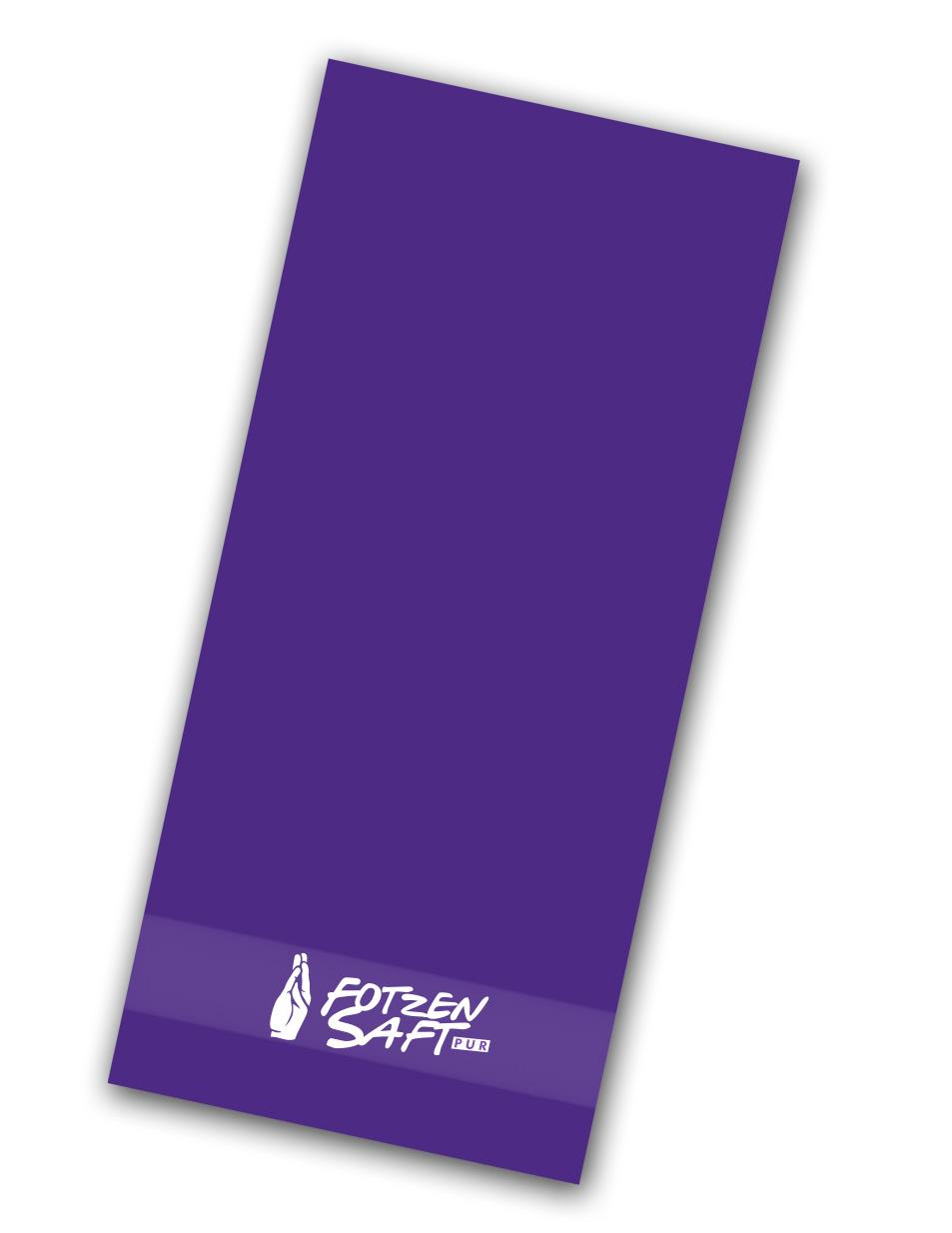 Fotzensaft Handtuch weiß auf lila