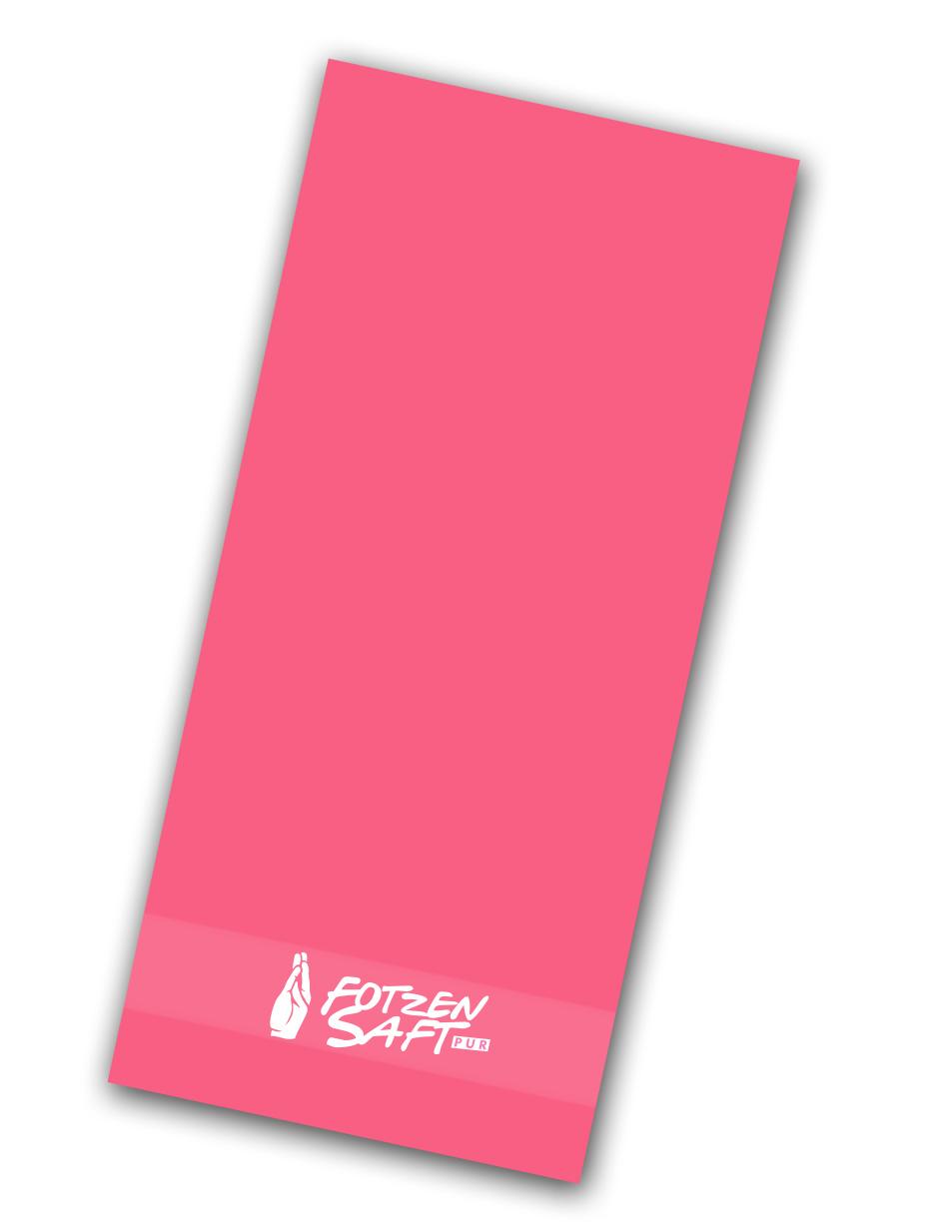 Fotzensaft Handtuch weiß auf pink