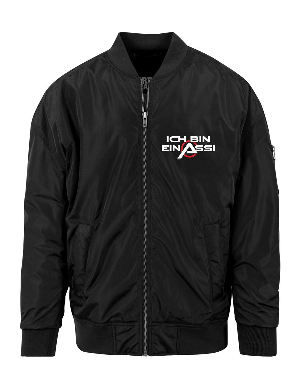 Ich bin ein Assi Overzised Bomber Jacket mehrfarbig auf schwarz