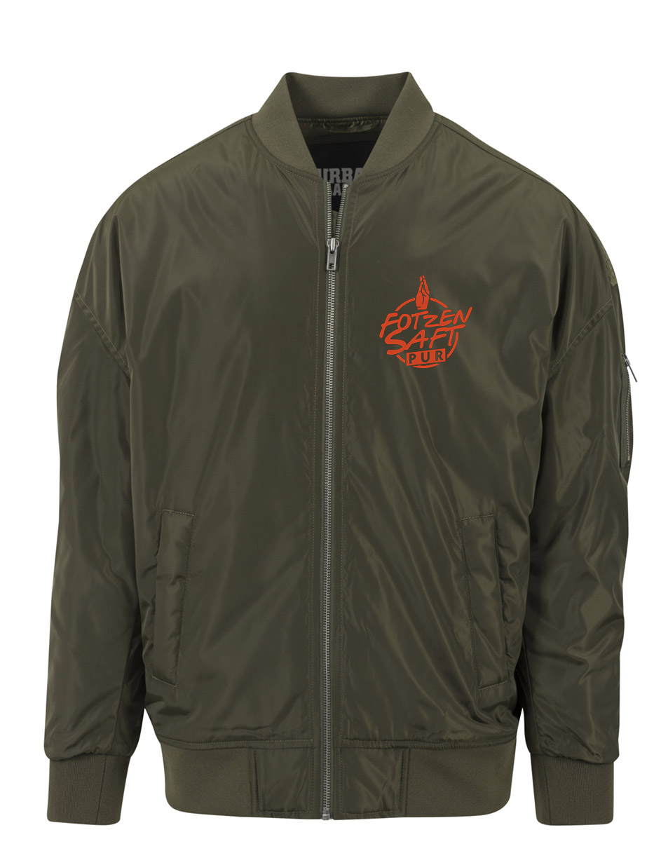 Fotzensaft Overzised Bomber Jacket orange auf dark olive