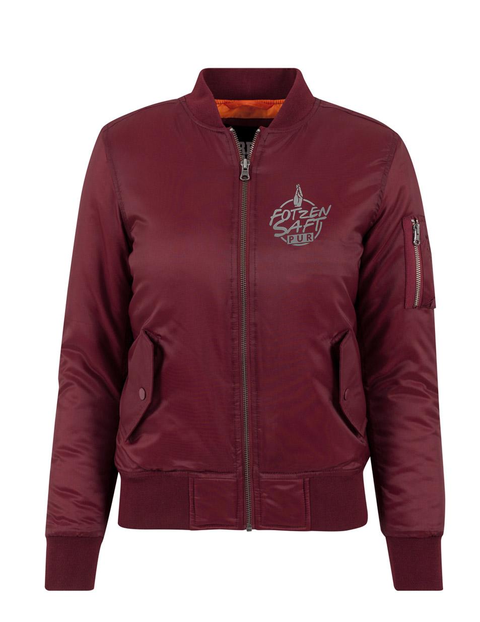 Fotzensaft Ladies Bomber Jacket silber auf burgundy