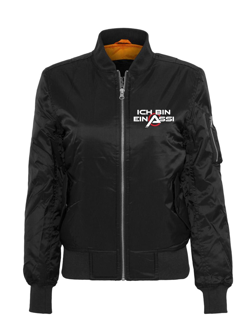 Ich bin ein Assi Ladies Bomber Jacket mehrfarbig auf schwarz