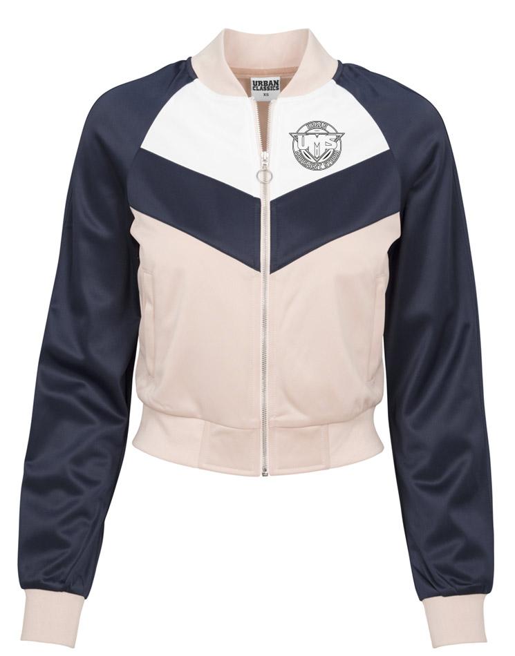 UMS Ladies Short Raglan Track Jacket schwarz auf light rose/navy/white