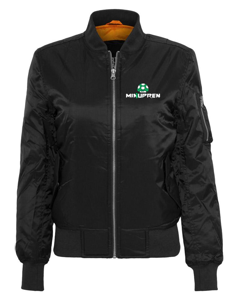 m1nupren Ladies Bomber Jacket mehrfarbig auf schwarz
