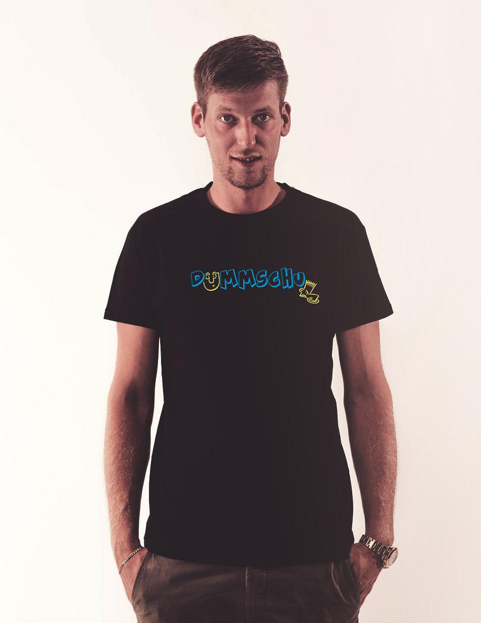 Dummschul T-Shirt mehrfarbig auf schwarz