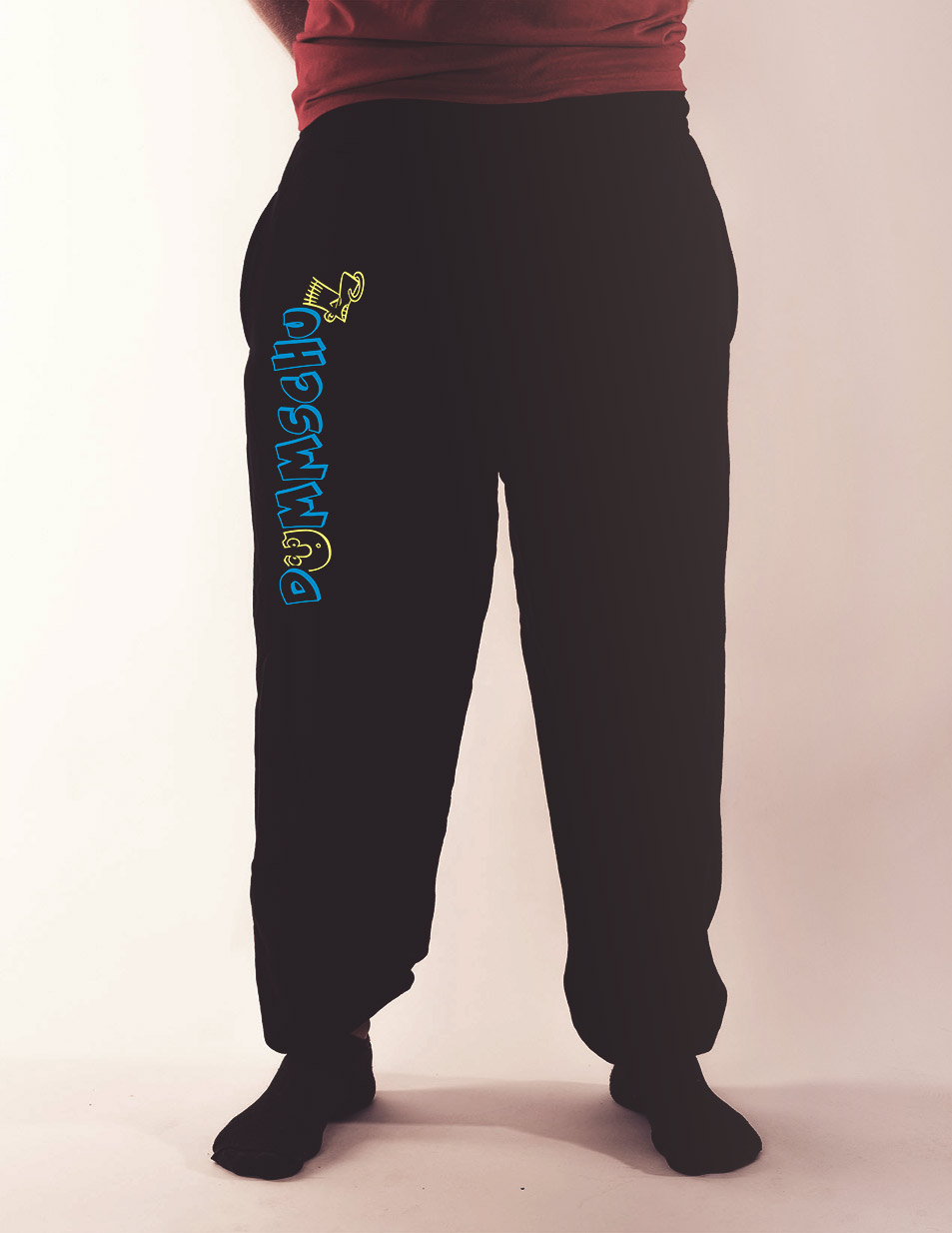 Herren-Jogginghose Dummschul mehrfarbig auf schwarz