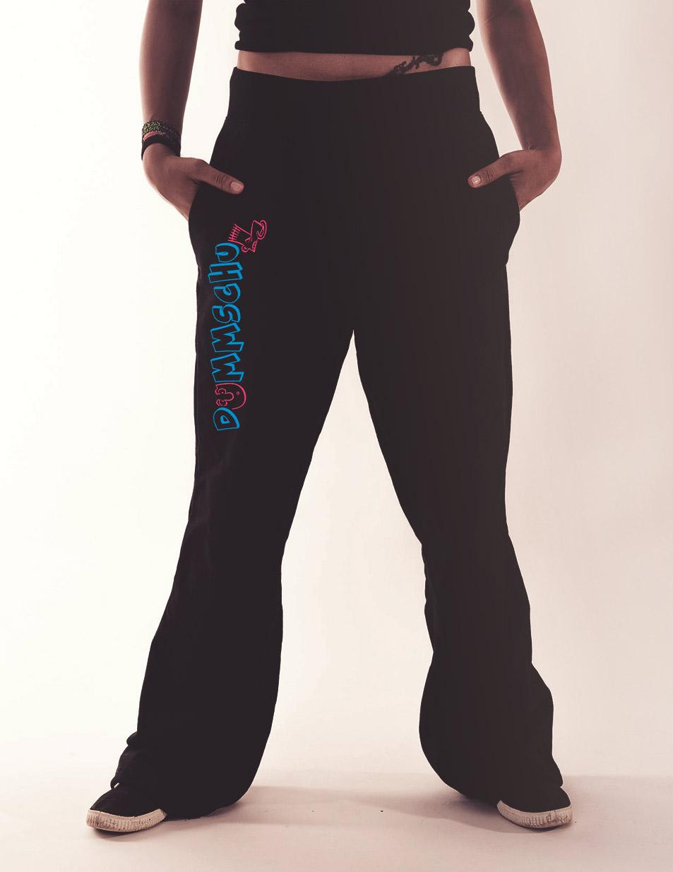 Damen-Jogginghose Dummschul mehrfarbig auf schwarz
