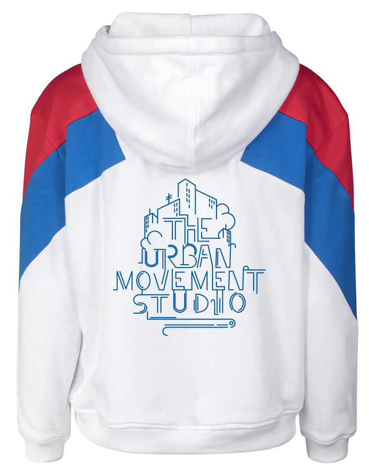 Urban Movement Studio Ladies Oversize 3-Tone Block Hoody royal auf firered/royal/white