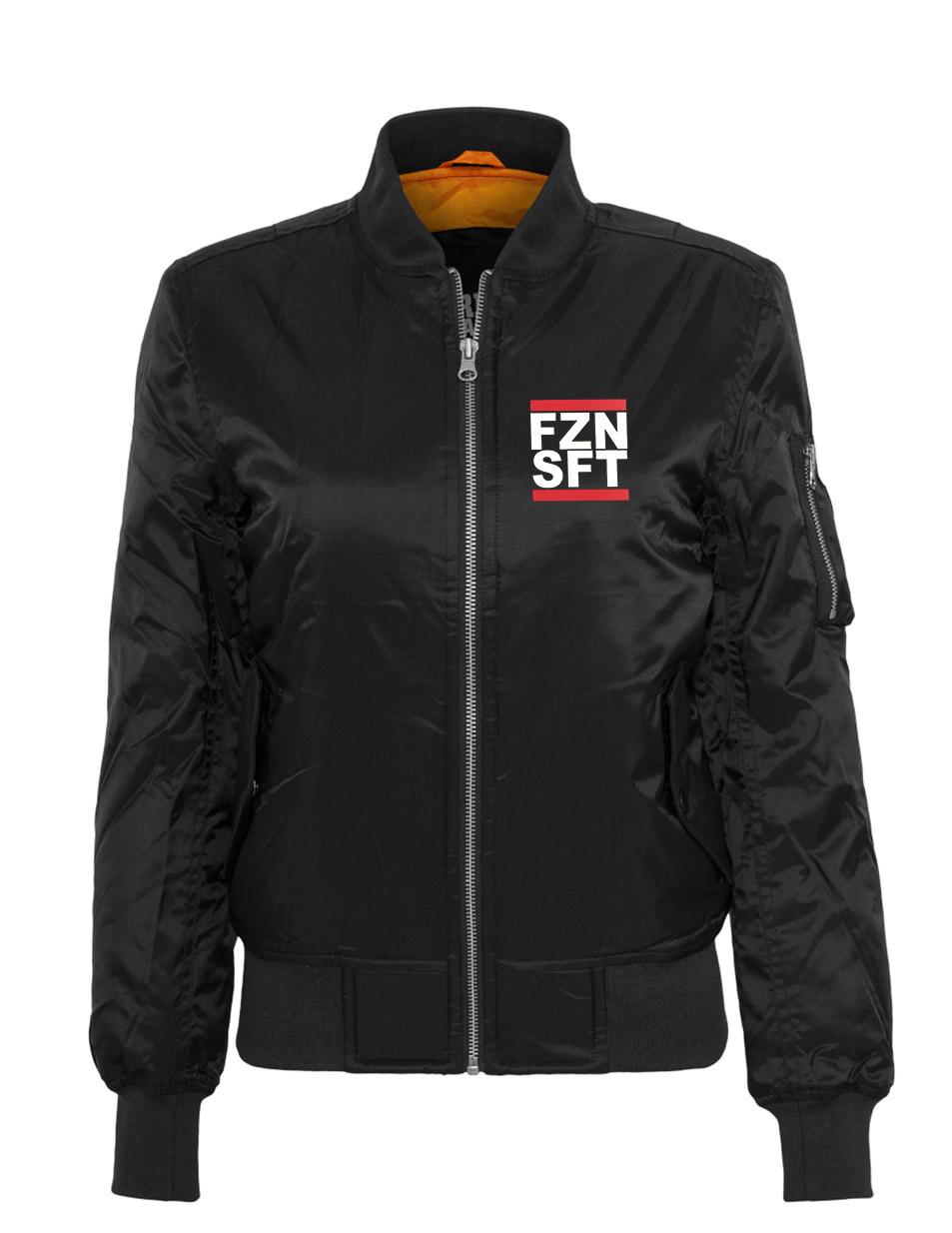 FZNSFT Ladies Bomber Jacket mehrfarbig auf schwarz