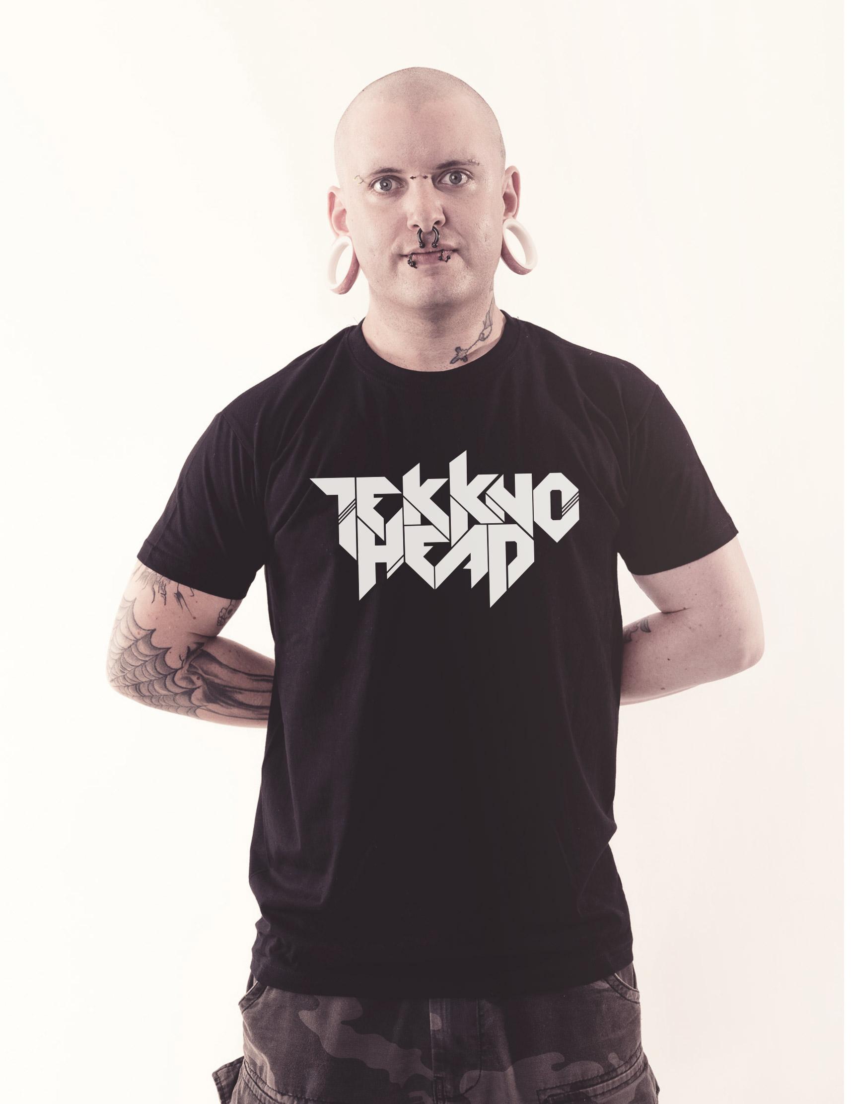 TEKKNOHEAD Shirt weiß auf schwarz