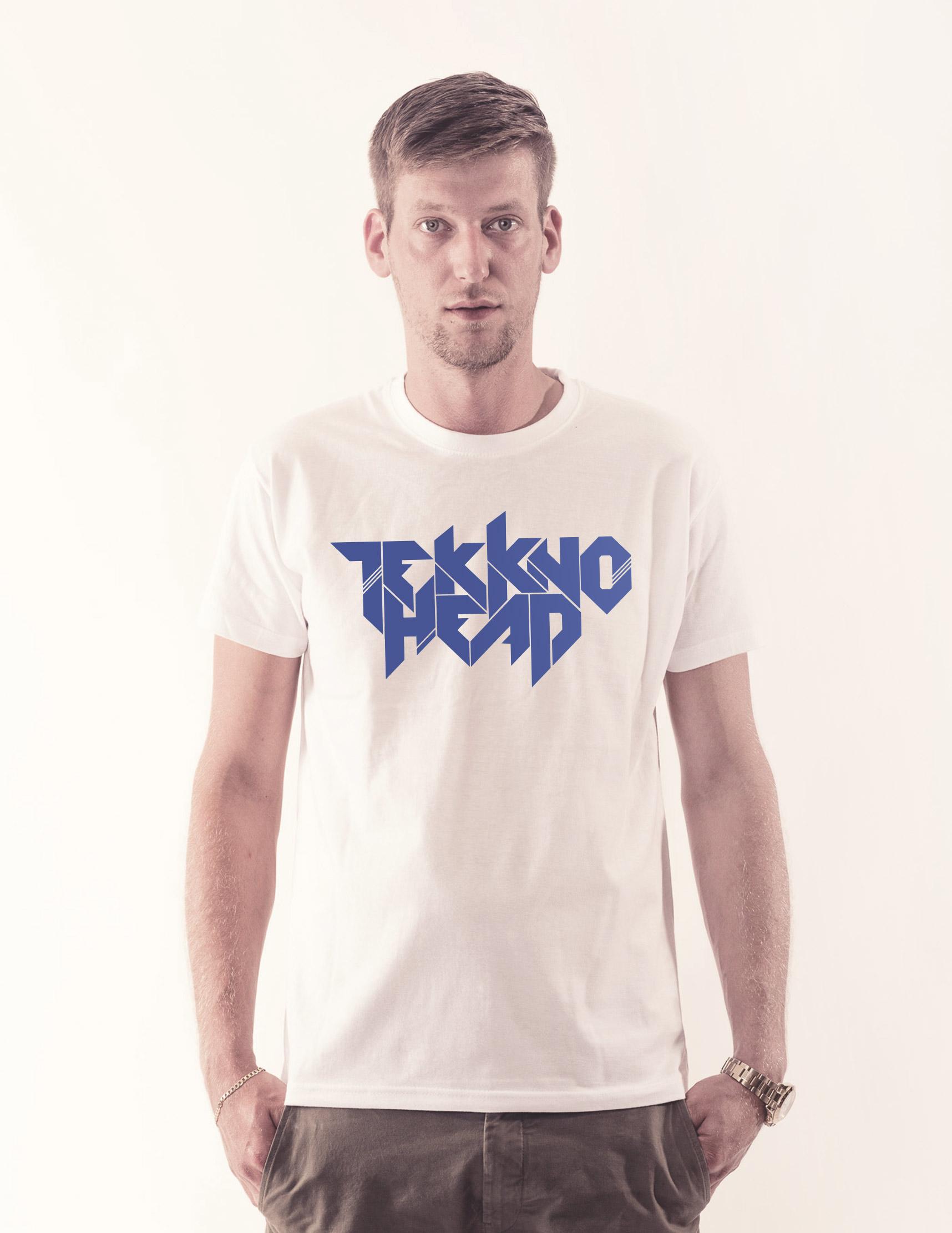 TEKKNOHEAD Shirt neonblau auf weiß