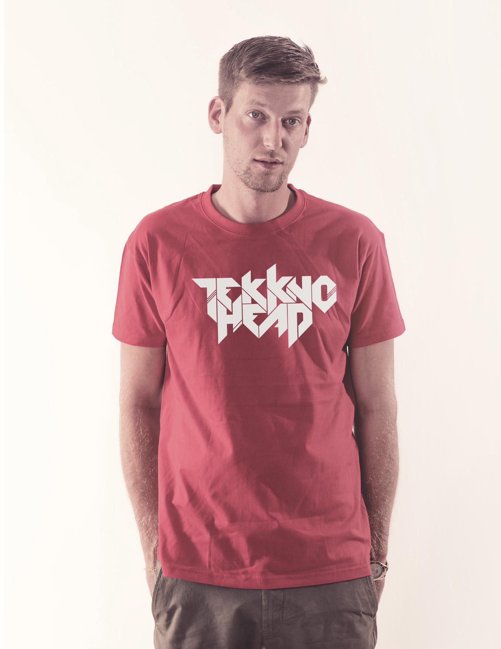 TEKKNOHEAD Shirt weiß auf rot