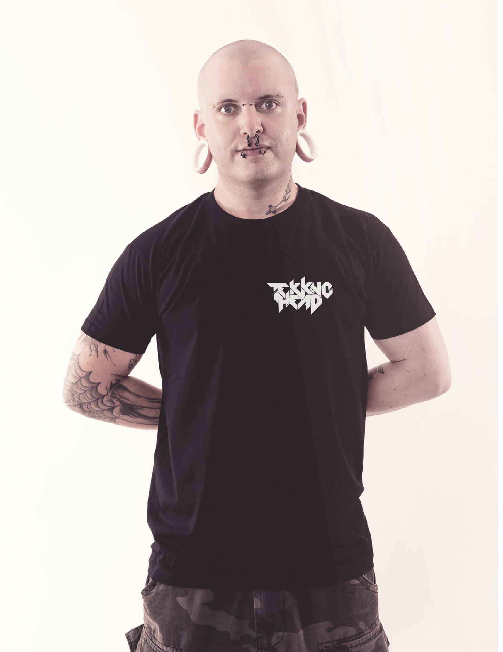 TEKKNOHEAD BRAND Shirt weiß auf schwarz