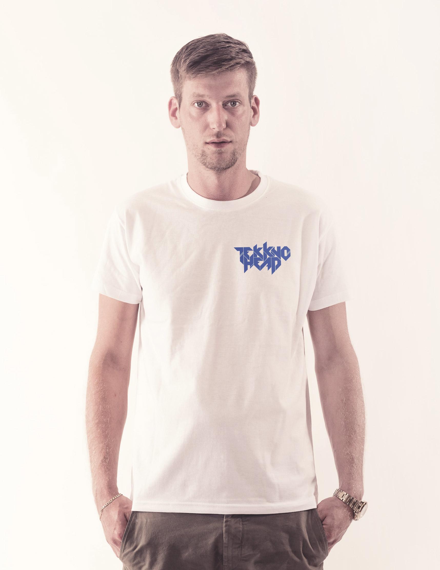 TEKKNOHEAD BRAND Shirt neonblau auf weiß
