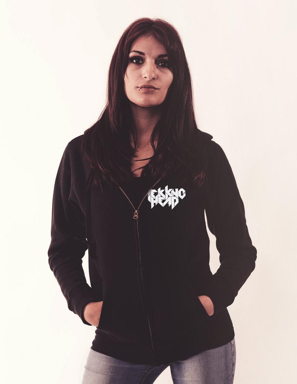 TEKKNOHEAD GirlyKappu-Zipper schwarz