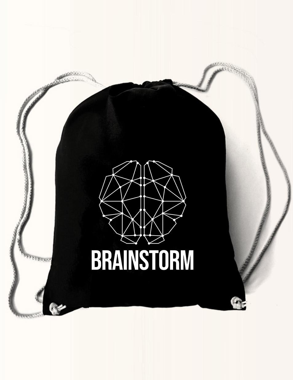 Brainstorm Baumwollrucksack weiß auf schwarz