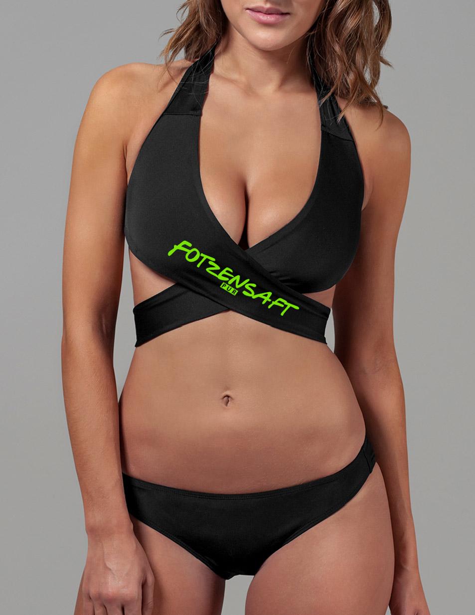 Fotzensaft Ladies Bikini neongrün auf schwarz