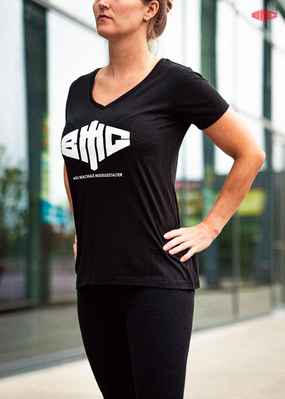 BMG V-Neck Triblend Girly T-Shirt weiß auf schwarz