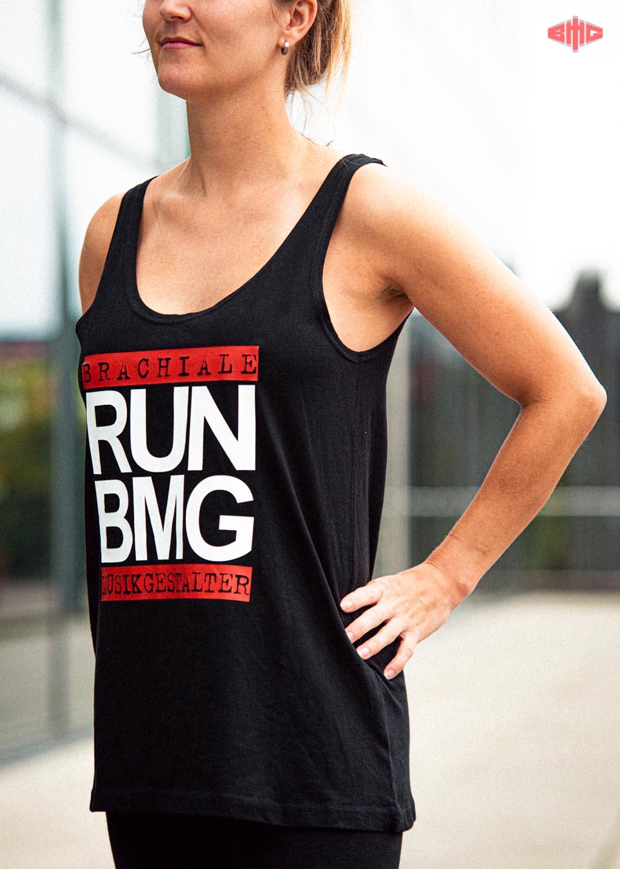 RUN BMG Ladies Tank Top weiß auf schwarz
