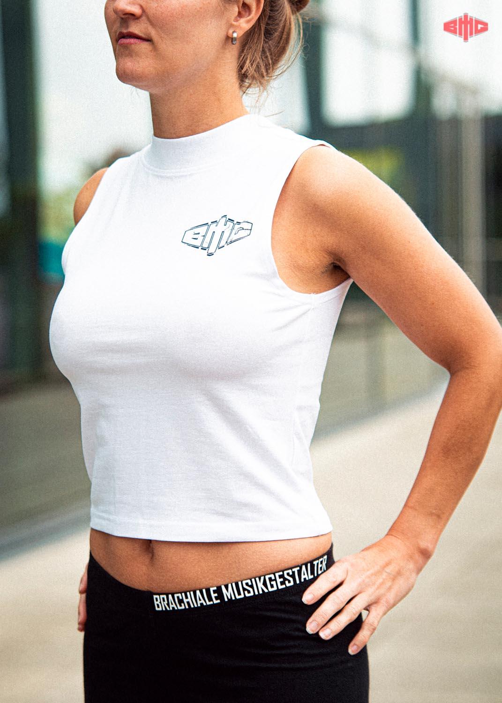 BMG Ladies Turtleneck Short Top navy auf weiß
