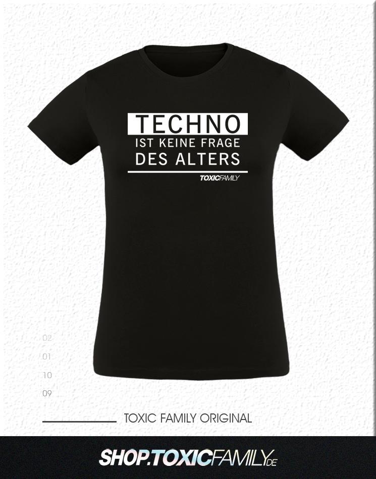 Techno ist keine Frage des Alters weiß auf schwarz