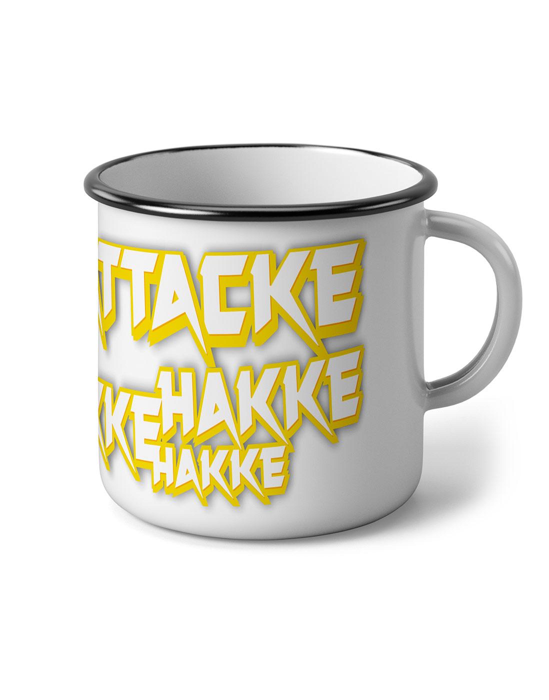 Hakke Hakke Hakke Emaillebecher mehrfarbig auf weiß/schwarz