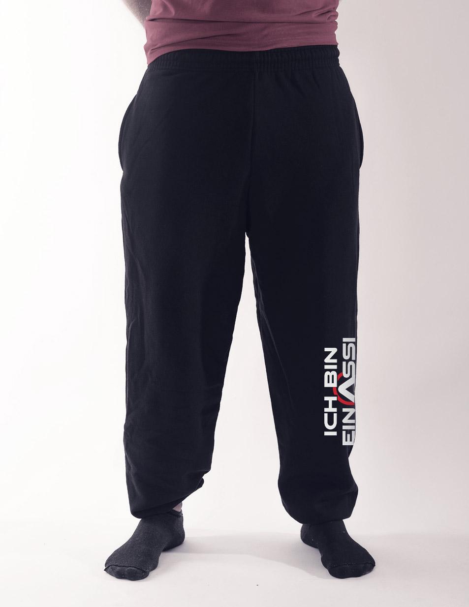 Herren-Jogginghose Ich bin ein Assi Pilz mehrfarbig auf schwarz