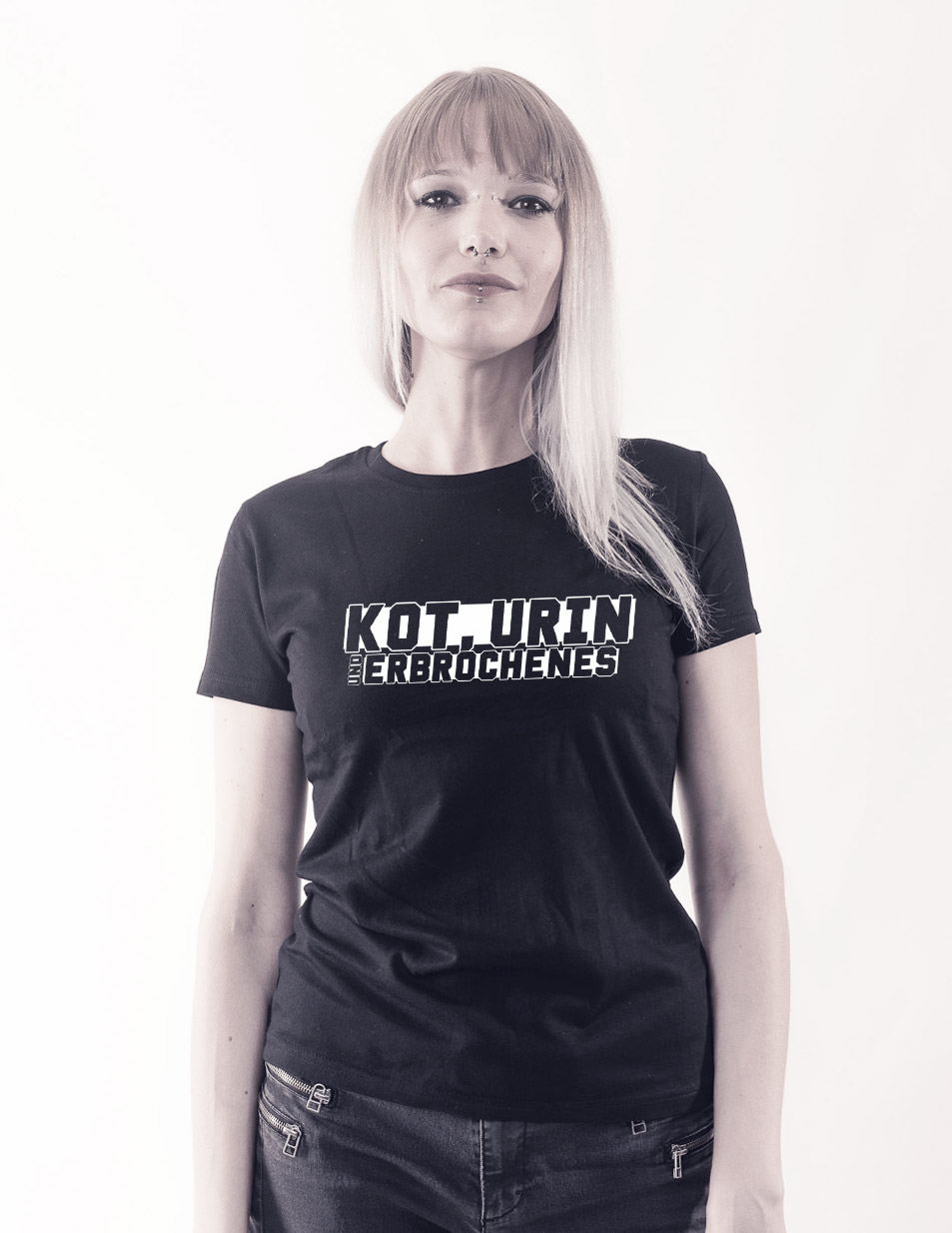 Kleiner Abkacker Girly T-Shirt weiß auf schwarz
