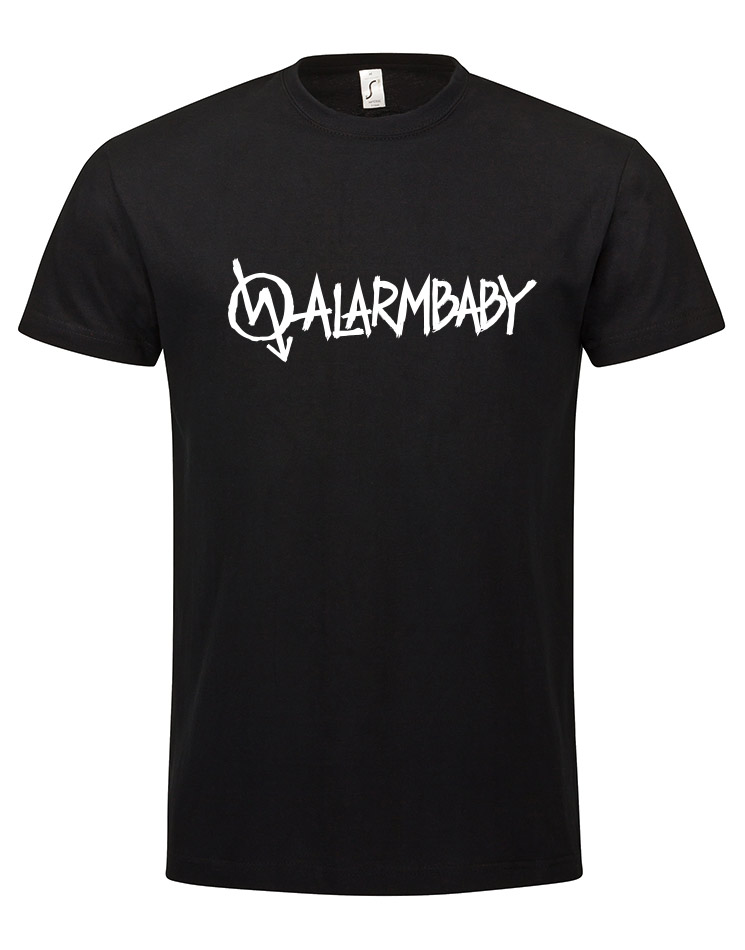 Alarmbaby Shirt white on black
