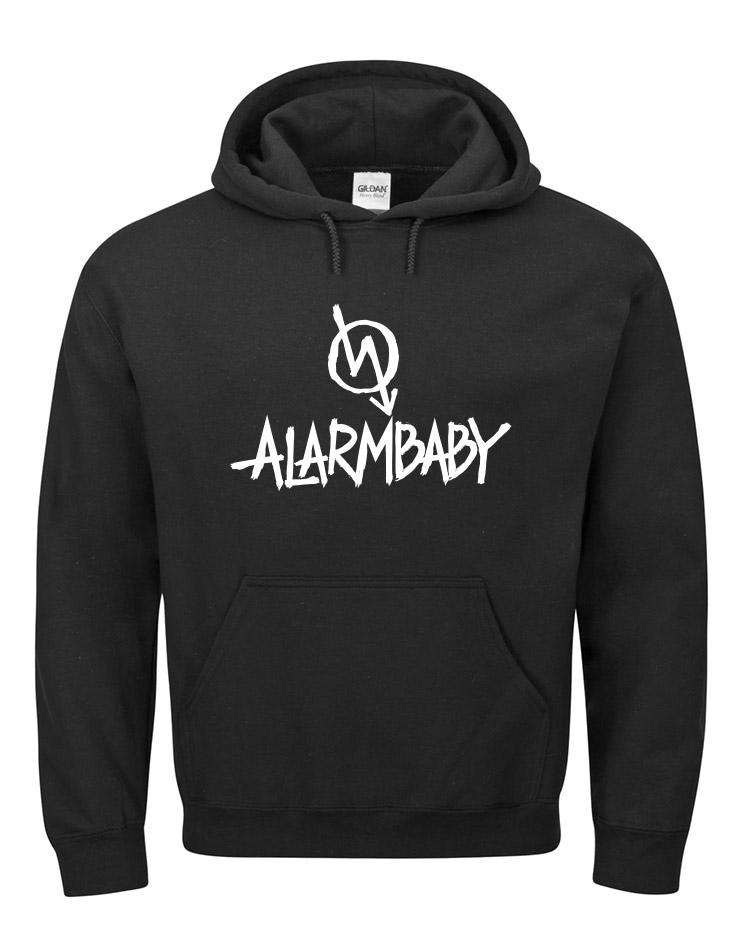 Alarmbaby BigPrint Hoodie weiß auf schwarz