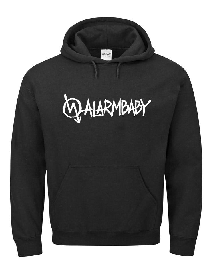 Alarmbaby Hoodie weiß auf schwarz