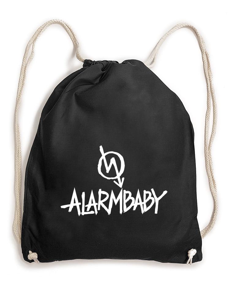 Alarmbaby BigPrint Baumwollrucksack weiß auf schwarz