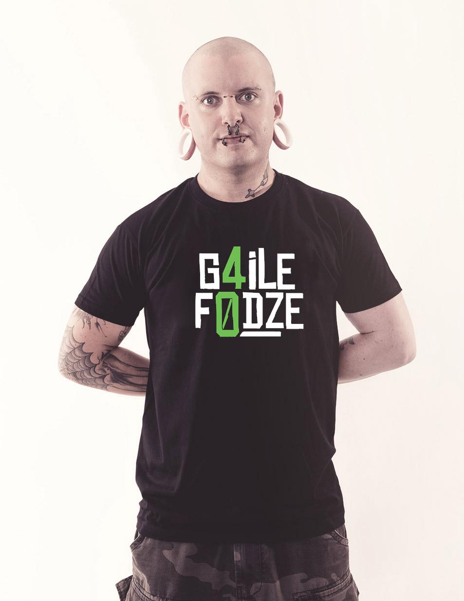 G4ILE F0DZE Shirt weiß/grün auf schwarz