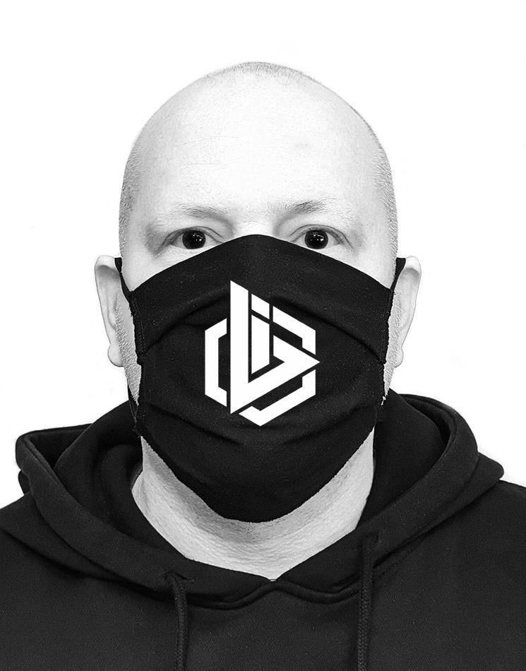 OBI Mund-Nasen-Maske weiß auf schwarz