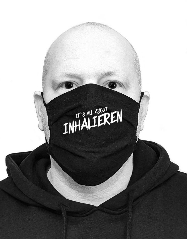 Its all about Inhalieren Mund-Nasen-Maske weiß auf schwarz