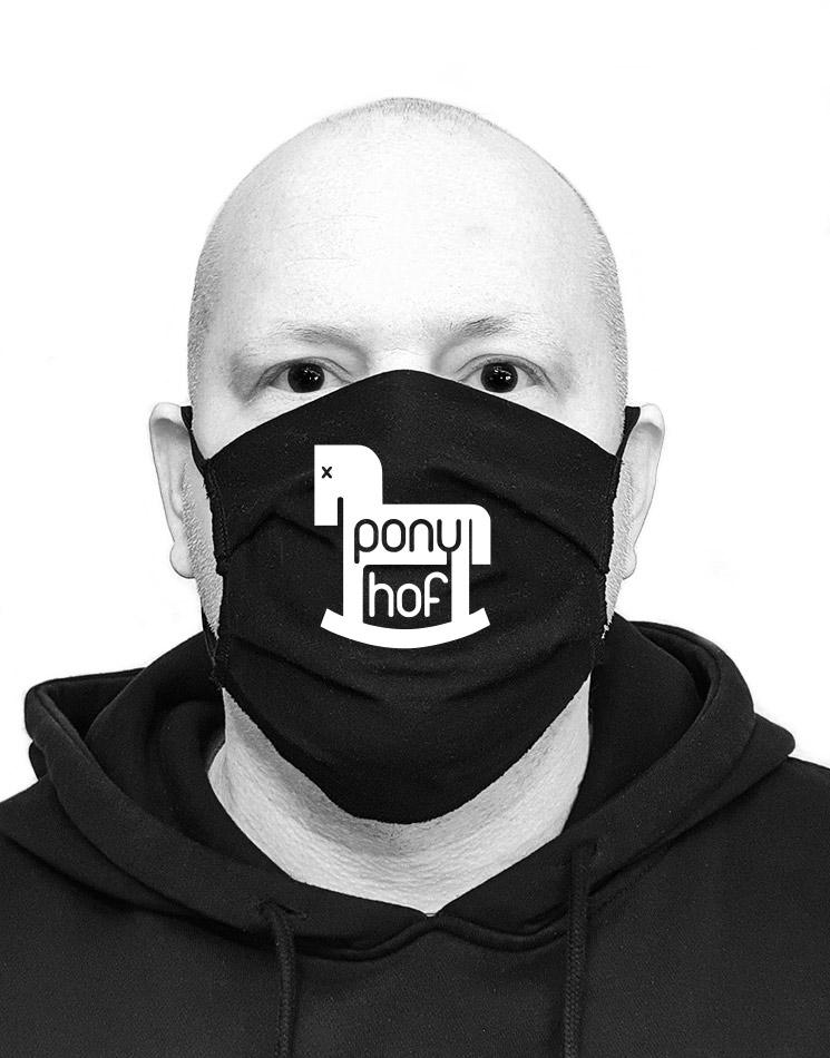 Ponyhof Mund-Nasen-Maske weiß auf schwarz