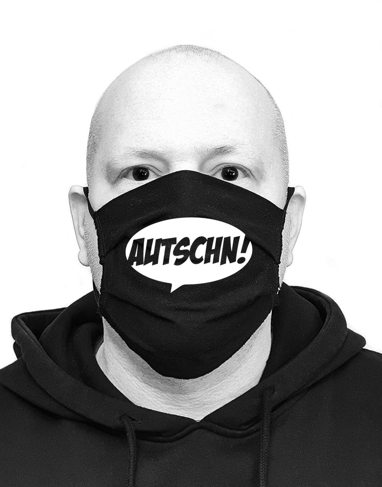 Autschn Mund-Nasen-Maske weiß auf schwarz
